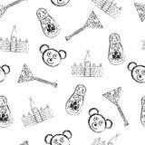 Het Russische naadloze patroon van symbolenpictogrammen Stock Fotografie