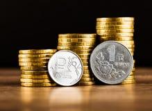 Het Russische roebelmuntstuk en Chinese Yuan Coin Royalty-vrije Stock Foto