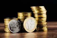 Het Russische roebelmuntstuk en Euro Stock Fotografie