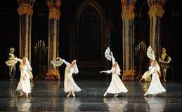 Het Russische witte kant de kleding-prins van bar het mitzvah-derde handeling-ballet Zwaanmeer stock foto's
