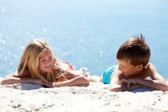 Het rusten op zand Royalty-vrije Stock Foto