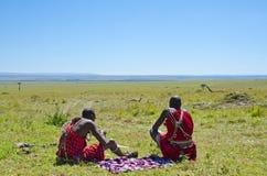 Het Rusten van de Strijders van Masai Royalty-vrije Stock Afbeelding