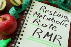 Het Rustende metabolische tarief van RMR royalty-vrije stock foto's