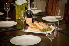 Het rustieke dineren plaatsende reeks voor diner Stock Afbeeldingen