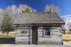 Het rustieke Oude van de de Pionierserfenis van het het Westen Houten Blokhuis Mormoonse Park Panguitch Utah royalty-vrije stock fotografie