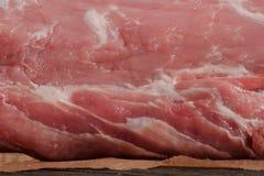 Het ruwe en verse varkensvleesvlees, stuk van varkensvleesvlees, sluit omhoog Royalty-vrije Stock Foto