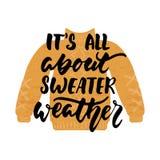 Het ` s allen over sweaterweer - overhandig getrokken comfortabele die de Herfstseizoenen van letters voorziend uitdrukking en Hu royalty-vrije illustratie
