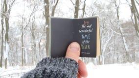 Het ` s de prachtigste tijd van het jaar Citaat over wintertijd stock videobeelden