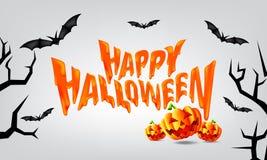 Het ` s een Gelukkige Halloween-Partijtijd met Enge Pompoenen en Vliegende Knuppels Vector vector illustratie