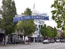 Het ` s het klimaatteken in Toelagenpas, Oregon Stock Foto