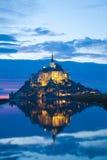 Het Saint Michel van Mont bij zonsondergang, Frankrijk Royalty-vrije Stock Fotografie