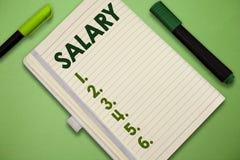 Het Salaris van de handschrifttekst De conceptenbetekenis bevestigde regelmatige betalings typisch betaald maandelijkse basis voo stock afbeeldingen