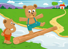 Het saldo van de beerbroer op houten brug Stock Afbeeldingen