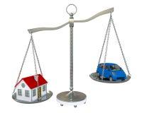 Het saldoschalen van het huis en van de auto stock illustratie