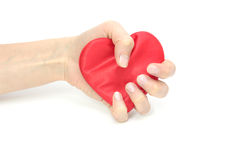Het samengeperste hart. stock foto