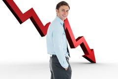 Het samengestelde beeld die van gelukkige zakenman bevinden zich met dient zak in Stock Foto