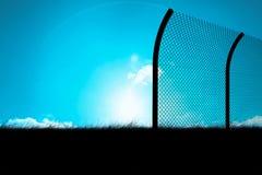 Het samengestelde beeld van bended chainlink 3d omheining Stock Foto's