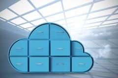 Het samengestelde beeld van blauwe laden in wolk vormt 3d Royalty-vrije Stock Foto's
