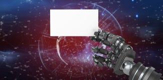 Het samengestelde beeld van computer produceerde beeld die van robotachtig wapen wit aanplakbiljet 3d houden Royalty-vrije Stock Foto