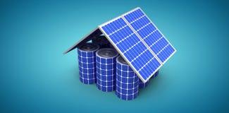 Het samengestelde beeld van 3d beeld van huismodel maakte van zonnepanelen en cellen Stock Afbeeldingen