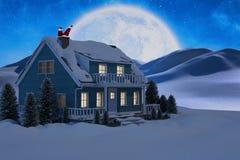 Het samengestelde beeld van de Kerstman heeft pret met een gitaar Stock Afbeelding