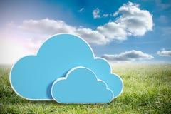 Het samengestelde beeld van digitaal geproduceerd beeld van blauwe wolk vormt 3d Stock Foto's