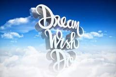 Het samengestelde beeld van driedimensioneel van droomwens doet tekst vector illustratie