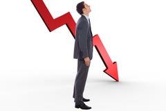 Het samengestelde beeld van gelukkige zakenman met dient zak in Stock Afbeelding