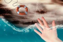 Het samengestelde beeld van hand met vingers spreidde uit 3d uit Stock Foto