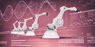 Het samengestelde beeld van moderne robots schikte zij aan zij 3d Stock Fotografie
