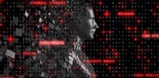 Het samengestelde beeld van profielmening van digitale zwarte pixelated 3d mannetje Stock Afbeeldingen