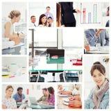 Het samengestelde beeld van redacteursholding tablet en het glimlachen als team werkt achter haar royalty-vrije stock afbeeldingen