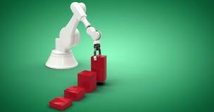 Het samengestelde beeld van samengesteld beeld van robot met rood stuk speelgoed blokkeert 3d Stock Afbeeldingen