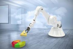 Het samengestelde beeld van samengesteld beeld van robot met stuk speelgoed blokkeert 3d Royalty-vrije Stock Foto