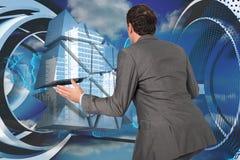 Het samengestelde beeld van zakenman het stellen met deelt uit Royalty-vrije Stock Foto