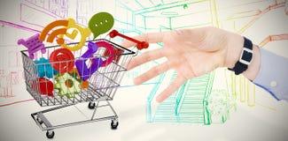 Het samengestelde beeld van zakenmanholding deelt in presentatie uit Royalty-vrije Stock Afbeelding