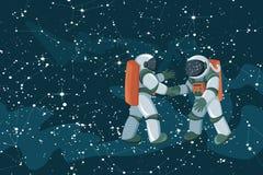 Het samenkomen en de handdruk van beeldverhaalastronauten op ruimte gekleurde achtergrond royalty-vrije illustratie
