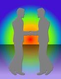 Het Samenkomen van twee Mensen royalty-vrije illustratie