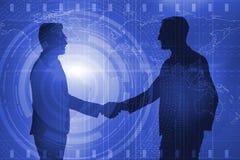 Het samenwerking tussen bedrijvenconcept met zakenlieden overhandigt het schudden royalty-vrije illustratie