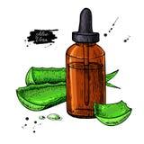 Het sap van aloëvera in fles Hand getrokken vectorillustratie isola stock illustratie