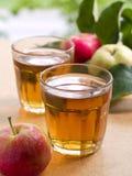 Het sap van appelen stock foto's