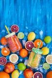 Het sap van de citrusvruchtenvitamine met verse rond vruchten Stock Afbeeldingen