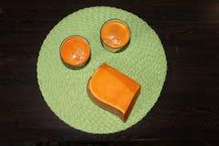 Het sap van de pompoen in een glas Stock Fotografie