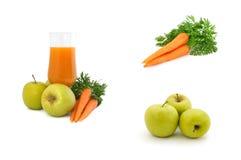 Het sap van de wortel met appelen en wortelen Royalty-vrije Stock Afbeelding