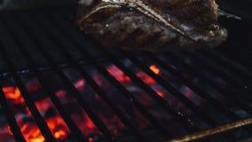 Het sappige lapje vlees is gebraden op een barbecue in 4K stock videobeelden