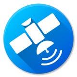 Het satelliet blauwe ontwerp van het cirkelpictogram Stock Afbeelding