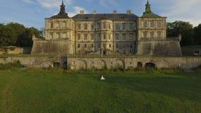 Het satellietbeeld van bruidegom komt aan bruid en streelt haar op kasteelachtergrond stock footage