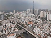 Het satellietbeeld van de stad stock afbeelding