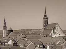 Het satellietbeeld van de stad Bautzen, Saksen, Duitsland, in wijnoogst ziet eruit stock afbeeldingen