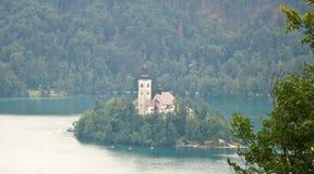 Het satellietbeeld van Meer tapte, bomen, Julian Alps-bergen en kerk op het Afgetapte eiland af, Slovenië stock fotografie